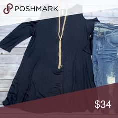 Cold Shoulder Tunic - Black Loose fitting tunic with cold shoulders. This is the perfect base layer for fall! Goes great with leggings, leggings, you name it! Also comes in gray, olive, burgundy, mauve, and navy. Please see individual listings to purchase other colors. No trades. Kyoot Klothing Tops Tunics