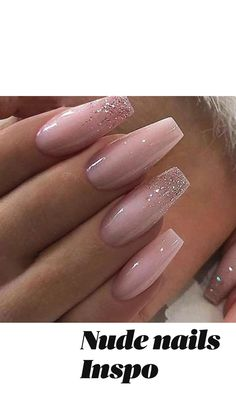 Blush Pink Nails, Sparkly Nails, Silver Nails, Glitter Ombre Nails, Nude Nails With Glitter, Acrylic Nail Designs Coffin, Long Square Acrylic Nails, Best Acrylic Nails, Light Pink Acrylic Nails