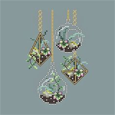Hanging Succulents by Shannon Wasilieff of Shannon Christine Designs Stitch Count: by Materials: DMC, Kreinik, Mill Hill beads as listed Small Cross Stitch, Cross Stitch Flowers, Modern Cross Stitch Patterns, Cross Stitch Designs, Cross Stitching, Cross Stitch Embroidery, Mill Hill Beads, Nerd Crafts, Hanging Succulents