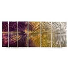 "All My Walls Abstract by Ash Carl Metal Wall Art in Purple Multi - 23.5"" x 60"""