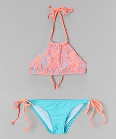 Look what I found on #zulily! Coral & Blue Floral Lace High-Neck Bikini - Toddler & Girls #zulilyfinds
