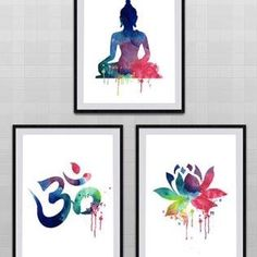 Lot de 3 Yoga méditation Zen aquarelle Art Print – symbole Om, Bouddha, fleur de Lotus – Wall Decor cadeau d'anniversaire It is a set of 3 draws. You will receive total 3 prints for your purchase. Each print uses Epson Archives pigment inks Meditation Rooms, Meditation Space, Yoga Meditation, Meditation Corner, Buddha Kunst, Buddha Art, Buddha Lotus, Buddha Decor, Yoga Kunst
