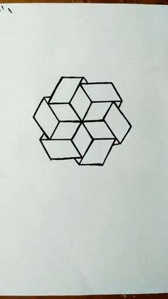 3d Art Drawing, Geometric Drawing, Art Drawings For Kids, Art Drawings Sketches Simple, Pencil Art Drawings, Geometric Art, Easy Drawings, Mandala Drawing, Geometric Designs