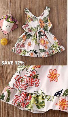 ZPW Baby Girl Summer Dress Cotton Floral Print Sleeveless Princess Outfits