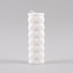 Broste Pillar Candle Rhomb - White (Image 1)