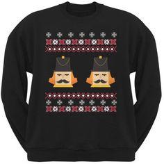 Nutcracker Full Color Ugly Christmas Sweater Black Adult Crew Neck Sweatshirt, Size: Large