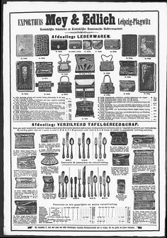 Advertisement for leather objects and silvered cutlery, some in Art Nouveau style.   Gracieuse. Geïllustreerde Aglaja, 1909, aflevering 23, pagina 368/5