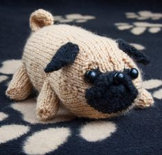 Knitting Pattern for Pug Puppy Amigurumi - Jolly The Pug toy dog softie measures 18cm long x 8.5cm high and 12cm wide