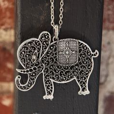 necklace / storybook elephant long necklace / ruche / £14.99