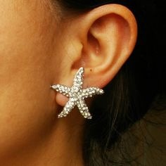 Starfish Earrings, Bridal Earrings, Wedding Jewelry, Crystal Earrings, Beach Wedding, Destination Wedding Jewelry :SEA MAIDEN