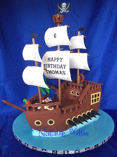Pirate ship cake - my bestie knows me well Pirate Boat Cake, Pirate Birthday Cake, Pirate Ship Cakes, 4th Birthday Cakes, Pirate Ships, Decors Pate A Sucre, Beach Cakes, Cakes For Boys, Themed Cakes