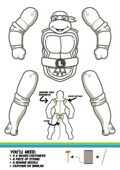 Download Michelangelo and the rest of the guys and get creative! Just click on the link below! Then it's just a matter of print, color, cut and assemble!