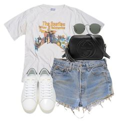 """""""Untitled #180"""" by simonakolevaa ❤ liked on Polyvore featuring Levi's, Yves Saint Laurent, Ray-Ban, Gucci and vintage"""