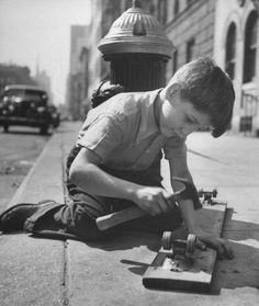 Photo: Ralph Morse 1947 He used roller skate wheels & plywood too!! WAY before we did!! (60's)!
