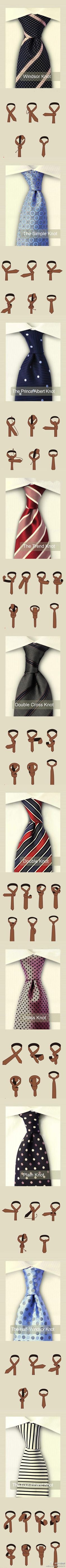 Different ways to tie a tie...