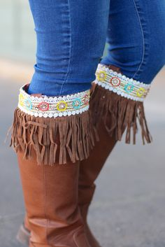 Beaded Fringe Boot Topper {Brown} - The Fair Lady Boutique - 1