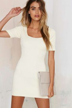 Glamorous Get the Scoop Ribbed Sweater Dress - Ivory | Shop Clothes at Nasty Gal!