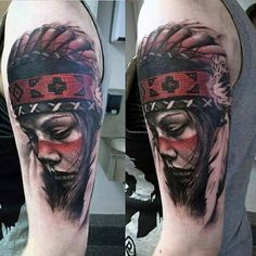 Red Feathered Head Covered Native American Girl Tattoo Mens Arms