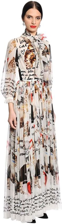 Fashions by Dolce & Gabbana. Disclosure: I'm an affiliate marketer. When you click on the link to the retailer (shopstylecollective) I earn a commission. Cats Printed Silk Chiffon Dress