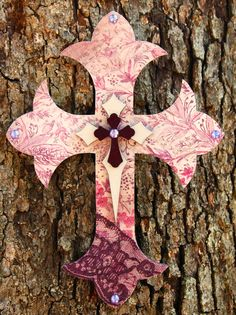 Mulberry and Purple Paty Wall Cross with Ivory by TheVelvetRobyn, $19.00