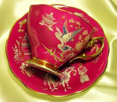 Royal Albert England ~ Oriental ~ Hot Pink ~ Tea Cup & Saucer from perfectlyposh on Ruby Lane