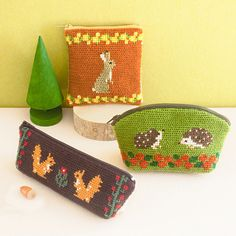 Japanese embroidered small bags, nice simple patterns.