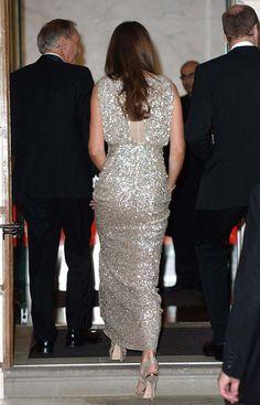 51e7de8eb117 Duchess of Cambridge glitters in pale gold Jenny Packham sequins