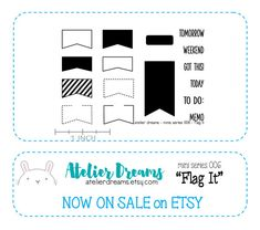 FLAG IT - MINI - Planner Stamps (Photopolymer Clear Stamps) tab stamps, flag stamps, open border stamps, list