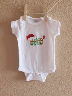 For the math lover :) Ho 3 (ho cubed) - Christmas Embroidered Applique Onesie