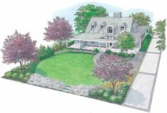 Oval lawn defines a large front yard for a contemporary farmhouse (Eplans HWEPL11585).