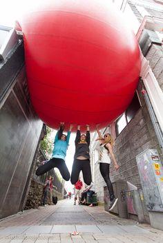 RedBall Project, Church Lane, Galway, Artist: Kurt Perschke Photographer: Martin and Martin #RedBallProject #Ireland