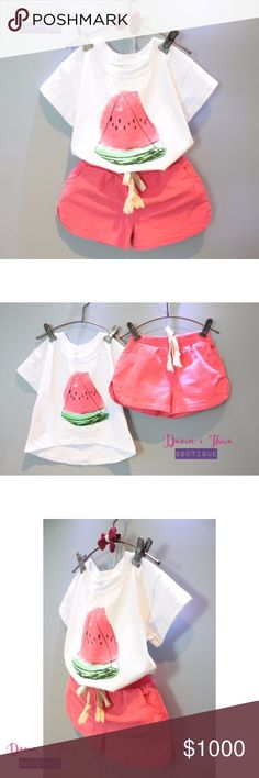 """Coming SoonWatermelon Print Matching Set BRAND NEW  Adorable watermelon print shirt and shorts for your little girl.  Submit your offer thru the """"Offer"""" button NO Price discussion in the comment NO Lowballing NO Trades Davin+Theia Matching Sets"""