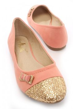 Coral Faux Leather Glitter Toe Flats