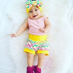 How cute is this sweet girl in my chevron with yellow bands cuff shorts set!?  Seriously PERFECT! Go get yours!!