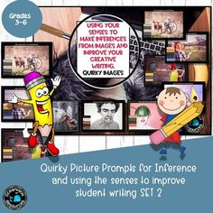 Inferencing- Fun Stimulus Images for creative writing Sensory Details, Inference, Creative Writing, Writers, Improve Yourself, Touch, Teaching, Casual, Fun