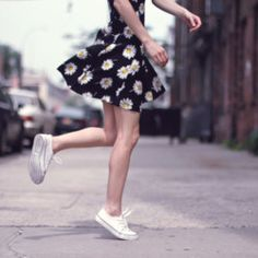 daisy print dress and sneakers