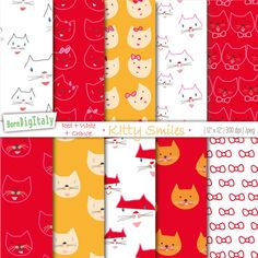 Cute Cats Digital Paper,Printable Gift Wrapping Paper,Scrapbook Paper,Because Cats, Red, White,Orange, Surface Pattern,Background / 50% OFF