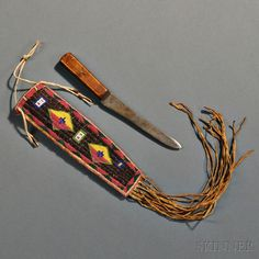 Yankton Sioux Beaded Hide Knife Sheath
