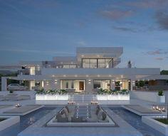 Dream Home Design, Modern House Design, House Structure Design, Villa Design, House Ideas, Fancy Houses, Modern Houses, Luxury Homes Dream Houses, Dream Homes