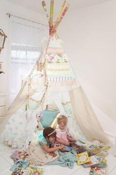 Story Time in a shabby chic teepee (tipi) - how adorable for a slumber party birthday party! Slumber Party Birthday, Slumber Parties, Girl Nursery, Girls Bedroom, Bedroom Ideas, Teepee Kids, Teepees, Forts, Girls Teepee