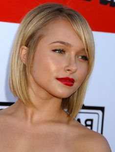 Hayden Panettiere, actress from sci-fi series Heroes, rocked her angular asymmetrical bob with a side-swept fringe. Shorter at the back and longer in the front, this hairstyle is very flattering for round faces. The side-swept fringe further elongates a rounder face,  and elegantly softens features.