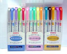Zebra Highlighter Mildliner 5 Color Set - for sale online Middle School Supplies, Best Highlighter, Japanese Stationery, Fluorescent Colors, Artist Pens, Art Supply Stores, School Stationery, Sketch Notes, Marker Pen