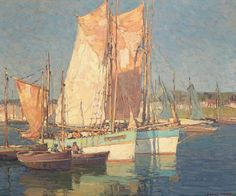 At Concarneau, France By Edgar Payne . Truly Art Offers Giclee Unframed Prints on Paper, Canvas Art, and Framed Art in all our Collections. Edgar Payne, Nautical Painting, Composition Design, Sail Boats, French Art, Portrait Art, Watercolours, Fishing Boats, Travel Posters