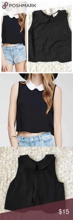 NWT Peter Pan Collar Crop Top Open Back Tank Black New with tags. Smoke free pet friendly. No flaws. Back clasps at top and gradually opens, really cute. This listing is for the all black top. Tops Crop Tops