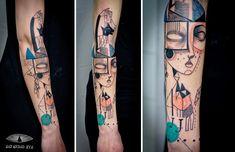 A dupla de artistas que cria tatuagens cubistas e surreais baseadas nas histórias dos clientes!Zupi