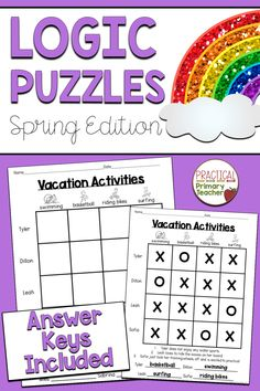 Do you love logic puzzles? These spring-themed logic puzzles are perfect for math stations, morning work, early finishers, enrichment, and more! These simple grid puzzles are a great way to introduce logic puzzles to your students. Fun way to practice problem solving and critical thinking skills! Grid Puzzles, Logic Puzzles, Critical Thinking Activities, Critical Thinking Skills, 1st Grade Activities, Science Activities, Classroom Resources, Teaching Resources, Math Stem