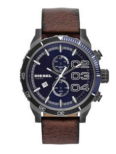 Diesel Men's DZ4312 Brown leather watch with blue dail