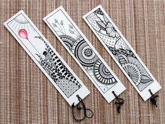 Zakładki do książek w stylu Zentangle Mandala Artwork, Mandala Drawing, Fusion Art, Diy Bookmarks, Arte Horror, Doodles Zentangles, Fashion Books, Doodle Art, Diy Art