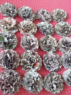 Handmade newspaper flowers
