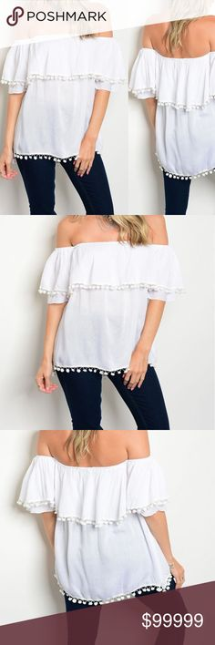 🆕 Ruffle off Shoulder Top with Tassel WHITE Short ruffle off the shoulder top with tassel detail This jersey knit top features long sleeves, rounded neckline and relaxed fit. Fabric Content: 100% Rayon golden threads Tops